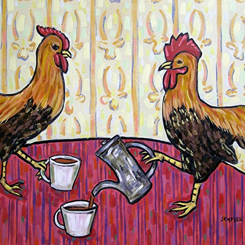Chicken Hen Rooster at the cafe coffee shop farm animal art tile coaster gift (Hen & Rooster Coasters)