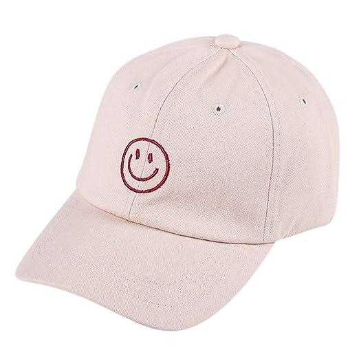 ef3aec0ce2d Amazon.com  Likero Hat!! Adjustable Vintage Smiley Embroidery Twill Baseball  Sunscreen Hip-Hop Shade Cap for Women Men Unisex (Beige)  Clothing