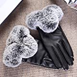 Generic lovely _Ms._Artificial_rabbit_hair,_Touch_Screen_ leather glove gloves women girls autumn winter _warm_car_cycling_ glove gloves _thick_velvet_Wind_Chill