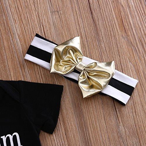 Lettere 3pc Emmababy Dei Neonati Romper + Strisce Pantaloni + Copricapo Di Bowknot Set Black