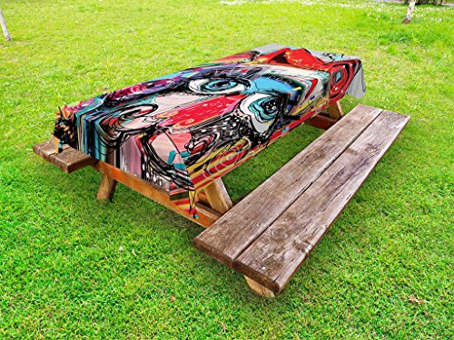 Ambesonne Art Outdoor Tablecloth, Grafitti like Sketchy Style Colorful Painting with Human like Face Dog Animal Image, Decorative Washable Picnic Table Cloth, 58 X 120 Inches, Multi Colored by Ambesonne