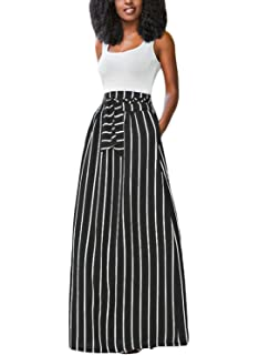 bc8c715f94 HOTAPEI Women's Full Length Elastic Waisted Maxi Skirt Vertical Striped  Long Skirts with Pocket