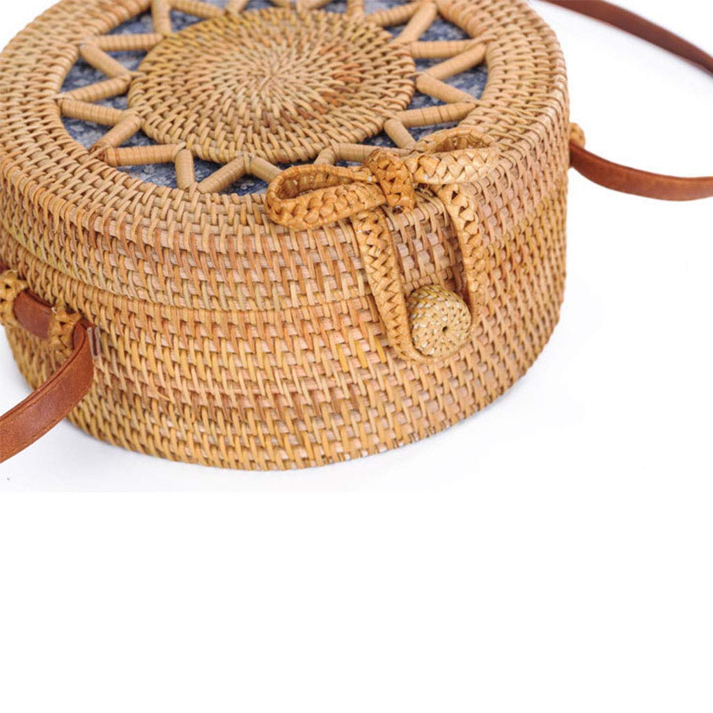 BHM Women's Bag, Rattan Bag - Hollow Sun Flower Slung Travel Bag - Beach Bag - Straw Bag - Hand-Woven Bag,B by BHM (Image #2)