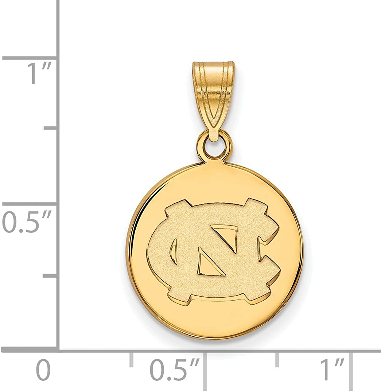 10k Yellow Gold North Carolina Tar Heels School Letters Logo Disc Pendant 16x15mm