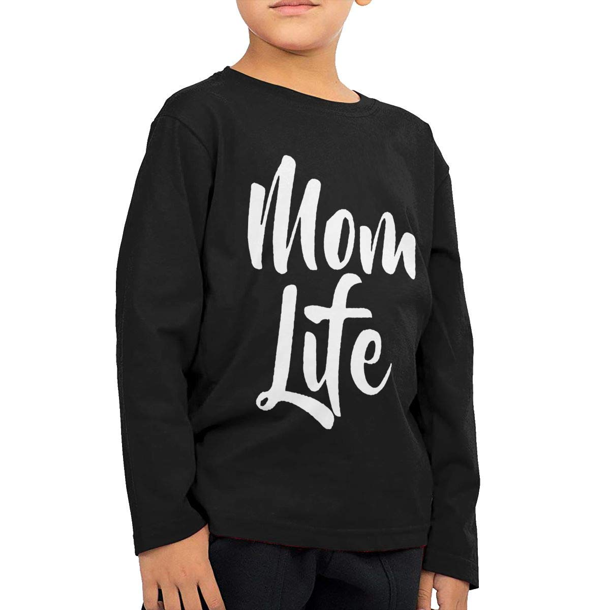WCHUNMU Mom Life Childrens Cotton Black Long Sleeve Round Neck Boys Or Girls Tee Shirt