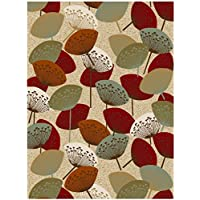Bandelini Napoli Collection Modern Contemporary Floral Flower Design Rubber-Backed Non-Slip Non-Skid Area Rugs | Thin Low Pile Indoor/Outdoor Red & Beige 6 x 9