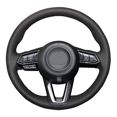Eiseng DIY Black Genuine Leather Steering Wheel Cover Custom Fit for 2020 2020 Mazda 3/2020-2020 Mazda CX-5 Mazda 6/2016-2020 CX-9/2020 CX-3 15 inch Interior Accessories (Black Thread): Automotive