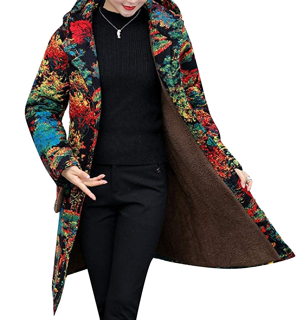 YUNY Womens Plus Velvet Patterned Single Breasted Puffy Jacket 6 L