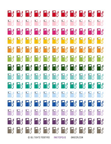 Monthly Planner Stickers Gas Pump Stickers Planner Labels Compatible with Erin Condren Vertical Life Planner