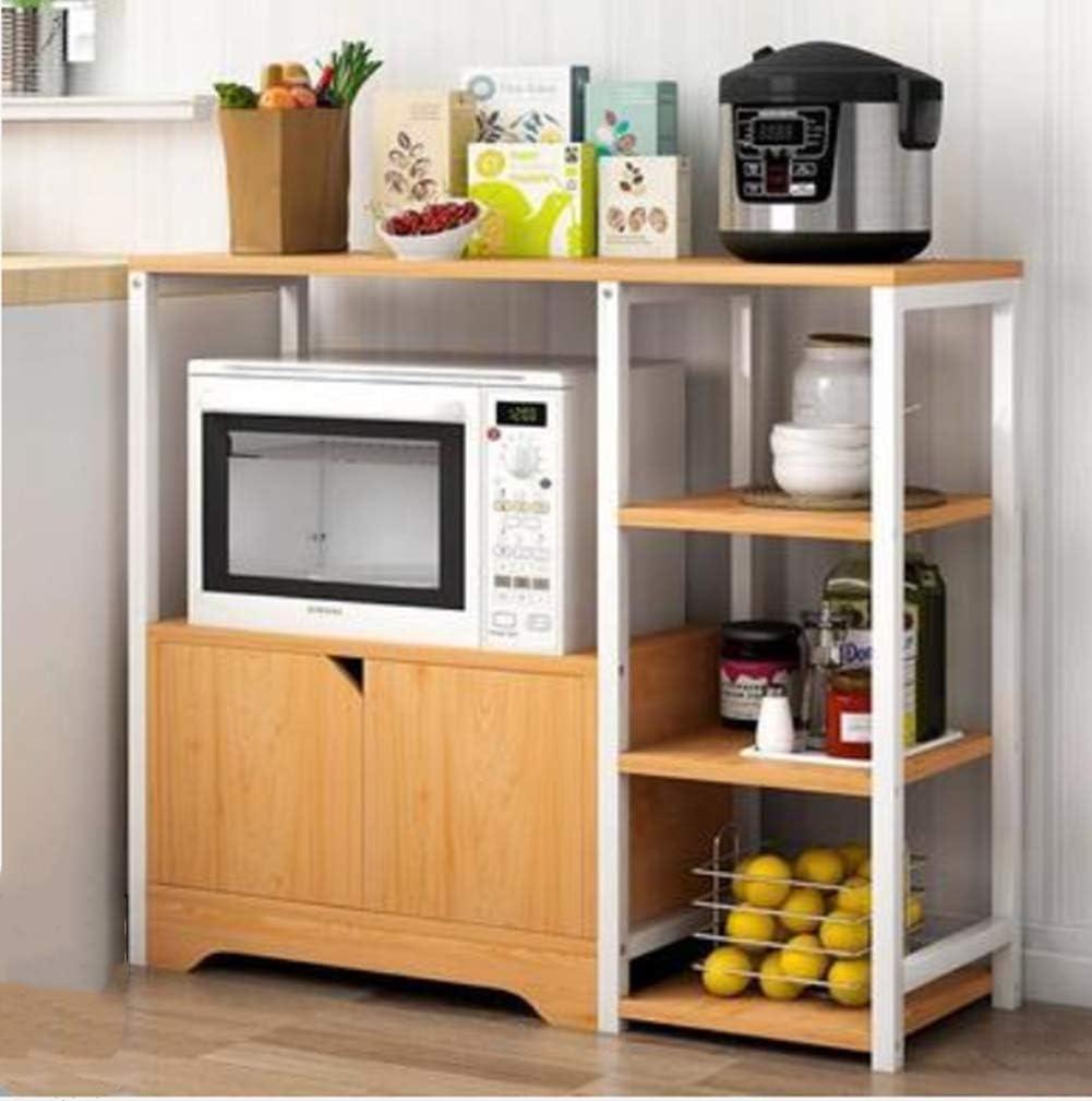 BLRON Kitchen Storage Cabinet,Microwave Oven Stand with 5 Storage Shelves,Kitchen Baker's Rack with 1 Cabinet,Bookshelf Cabinet,Bathroom,Shoe Racks