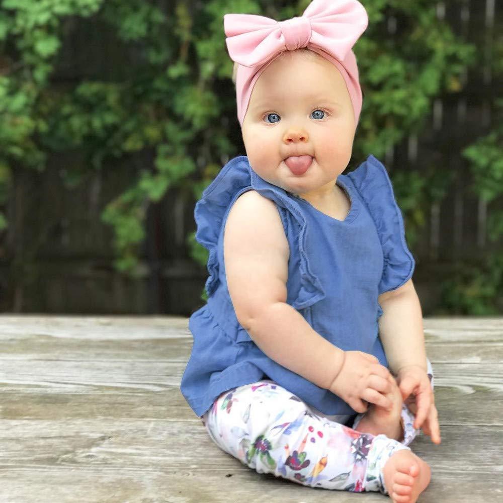 Ansenesna Baby Kleidung M/ädchen Sommer Baumwolle Elegant Kurzarm Oberteile Blau