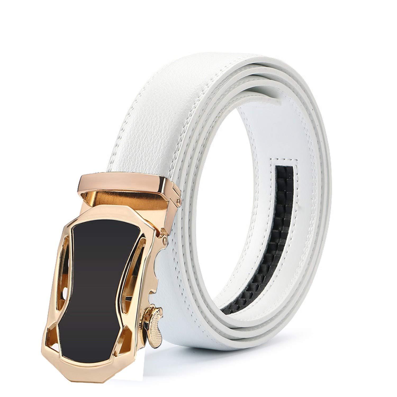 New Mens Fashion Automatic Buckle Leather Luxury Man cinturones hombre Black white Belt Alloy buckle White belt for Men,16,120cm