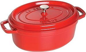 STAUB 1103706 Cast Iron Oval Cocotte, 8.5-quart, Cherry