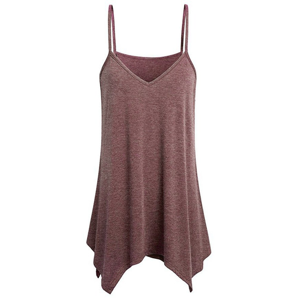 Women's Summer Tank Tops,LuluZanm Sales! Ladies Irregular Solid Color V Neck Cami Shirts Loose Fashion Casual Camisole