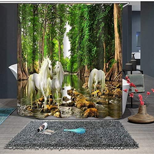 71 X 71 Pulgadas Unicornio Impreso Cortina de Ducha Impermeable Impresión Digital Jardín Decorativo Baño Cortinas de Baño Con 12 unids Ganchos Tela de baño Cortinas Cortinas de baño: Amazon.es: Hogar