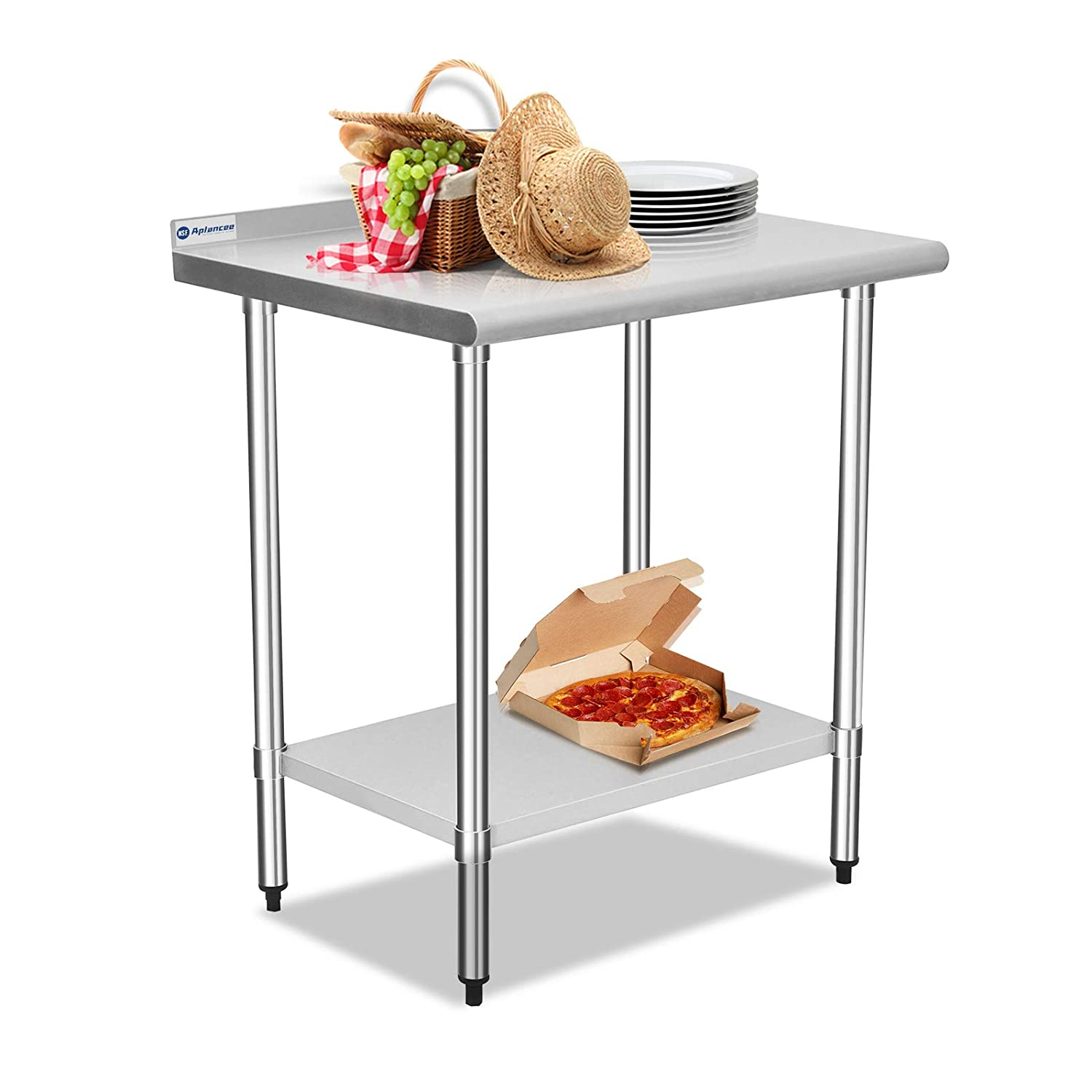 Aplancee Stainless Steel Prep & Work Table 30 x 24 Inches with Backsplash and Adjustable Undershelf Metal Utility Workstations for Kitchen or Restaurant Supplies