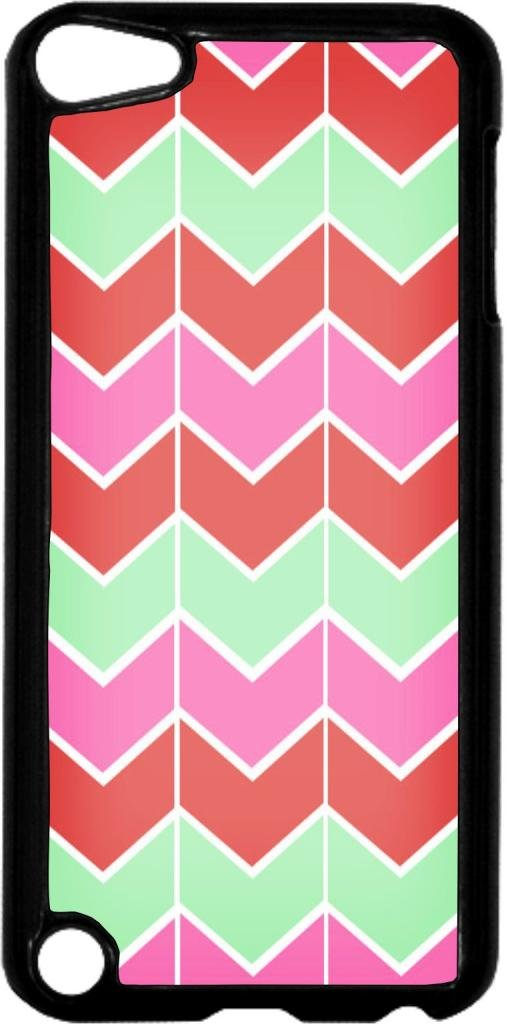 Lined Chevron Pattern (Pink, Coral, Green)- Case for the Apple Ipod 5th Generation-Hard Black Plastic
