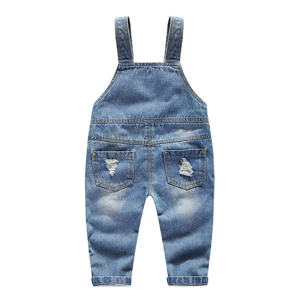 Preferhouse Baby Little Boys Denim Overall Distressed Ripped Soft Pants