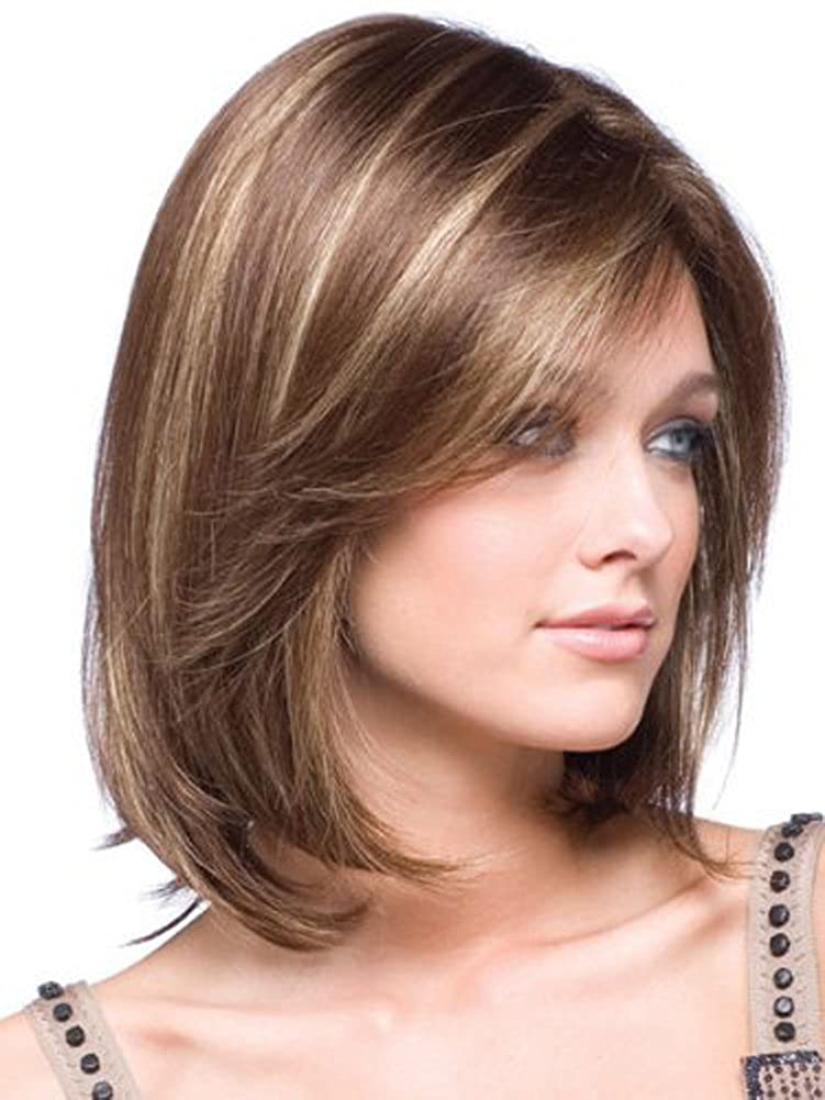 CosWindow Shoulder Length Short Straight Ombre Layered Brown Hair Wigs For  Women