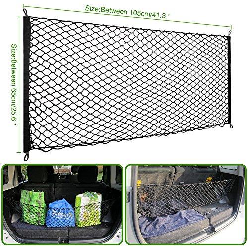 universal cargo net hammock floor style trunk organizer vehicle storage   adjustable hook