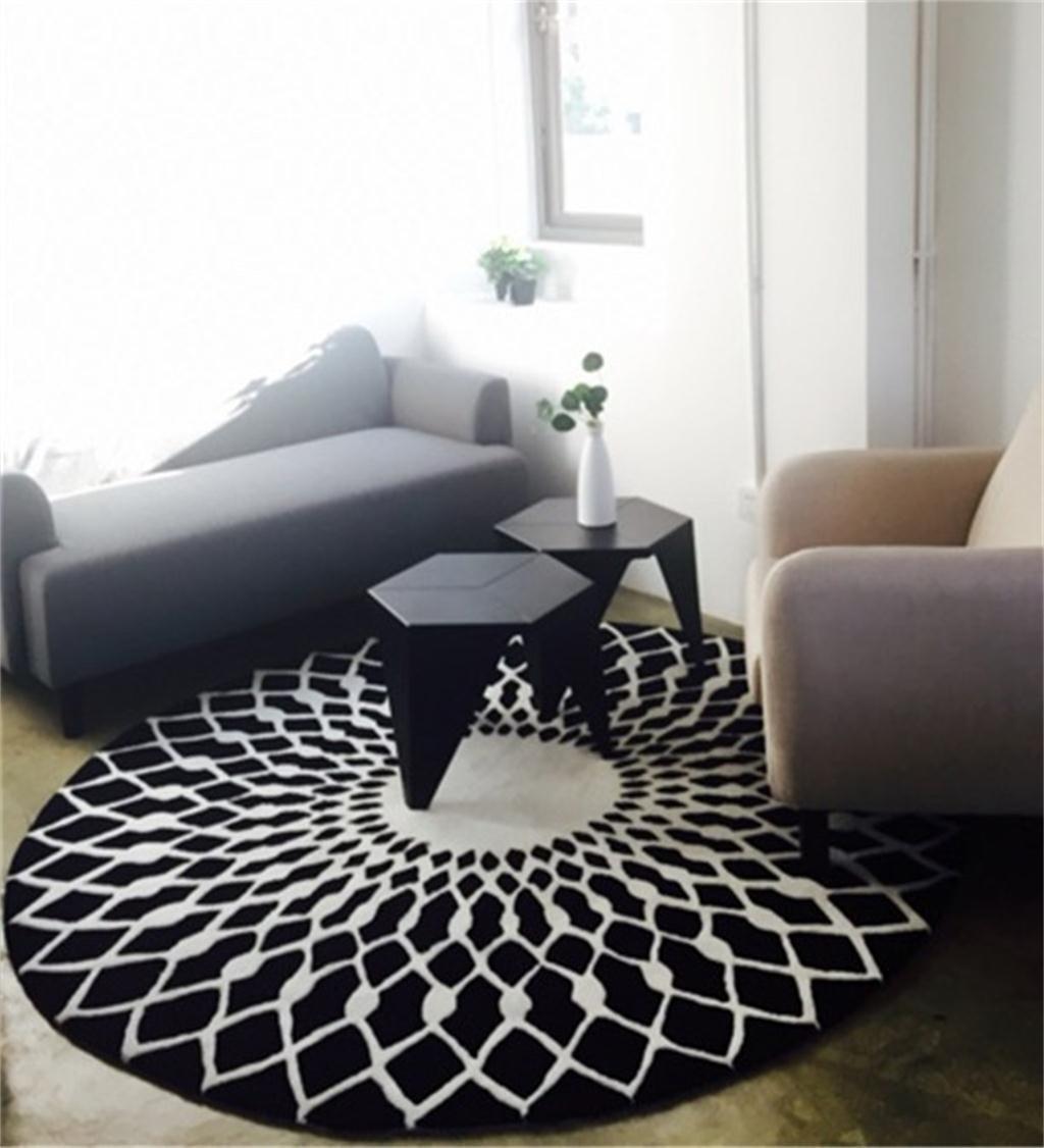 LIANGLIANG ラグ マット ノルディックラウンドカーペットリビングルームコーヒーテーブルカーペットベッドルームスタディクラブハウスマット (色 : 黒, サイズ さいず : 120cm) 120cm 黒 B0785K7Z2J