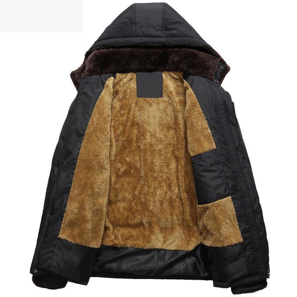 PHerMAN Men's Waterproof Fleece Ski Jacket Windproof Down Coat Puffer Jacket with Removable Hood (US XL/Tag 4XL, Black) by PHerMAN (Image #3)