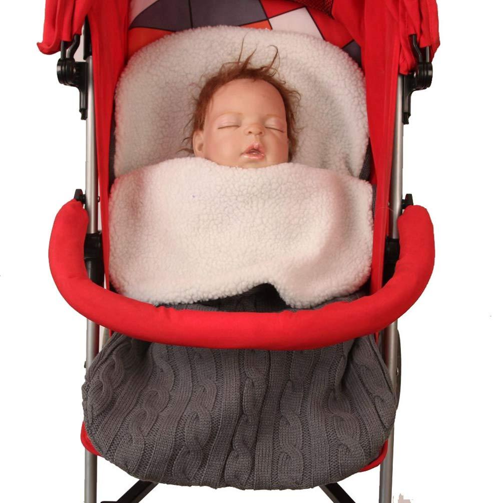 YuanDian Neonato Baby Avvolgere Fasciare Coperta A Maglia Plus Velvet Caldo Neonate Bambini Bambino Sacco A Pelo Sonno Uncinetto Cavo Passeggino Wrap Sacco Nanna Carrozzina per 0-12 Mese Beige