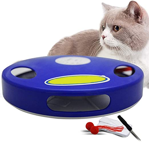 Ofanyia Juguete eléctrico para Gatos Juguete para bromas Inteligente Palo de Gato Juego Loco Juego para Girar la Mesa giratoria Gato para atrapar el ratón Donut Mesa giratoria para Gatos: Amazon.es: Productos