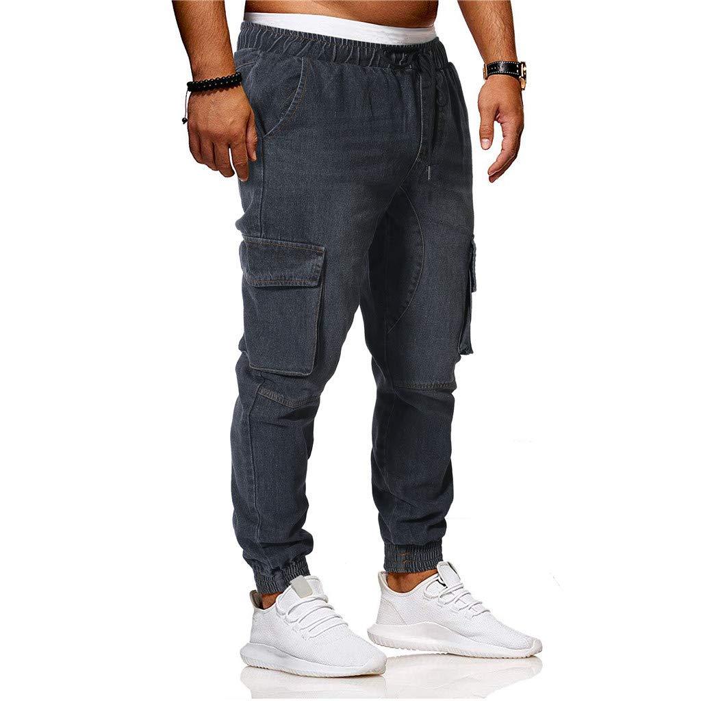 Sunyastor Jogger Cargo Men's Casual Trouser Outdoor Working Sweatpants Drawstring Elasticated Waist Outdoor Hiking Pants Black by Sunyastor men pants (Image #3)