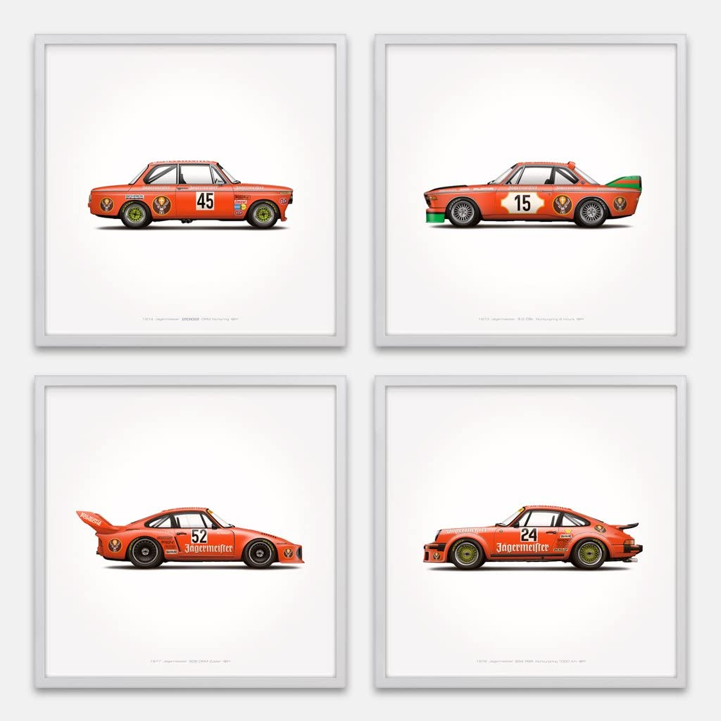 GarageProject101 Jägermeister Racing Classic 911 Carrera, 2002, CSL Illustration Poster Print - Set of 4