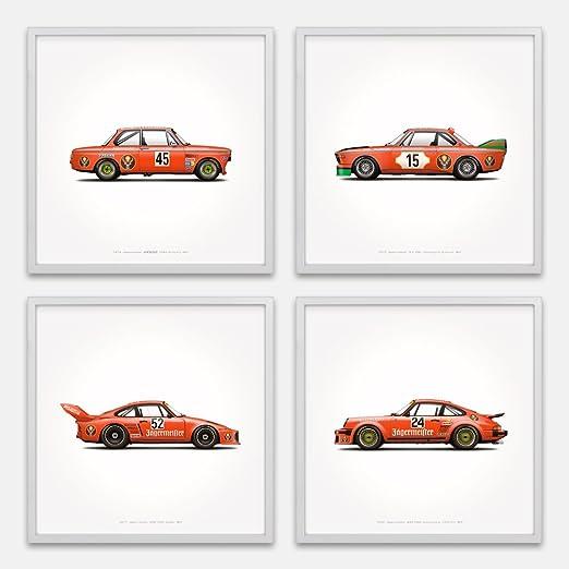 Jägermeister Racing Classic Porsche BMW Illustration Poster Print Set of 4