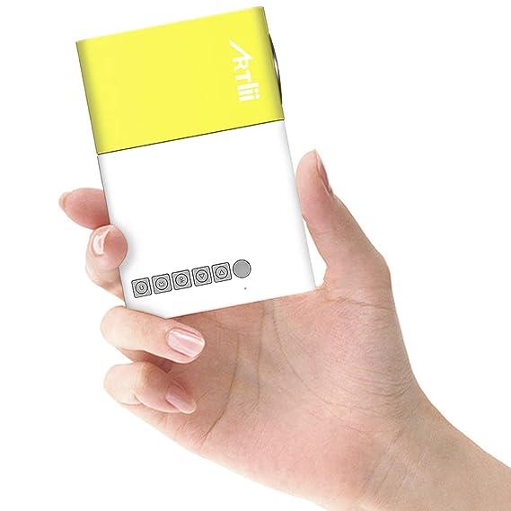 Artlii Mini Projecteur, LED videoprojecteur Portable,Pico projecteur de Poche Compatible HDMI/USB/Smartphone, pour Cadeau pour Enfants,Loisirs Maison Film Theatre,Video,Camping,Jeu(Jaune et Blanc)