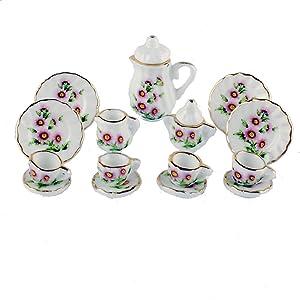 NW 1 Set 15 Pieces Ceramics Tea Cup Set Lovely Dollhouse Decoration Set Dollhouse Kitchen Accessories (#17)