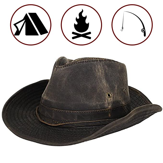840b7a430a0 Dorfman Pacific Men s Cotton Outback Hat with Chin Cord Brown  Amazon.ca   Clothing   Accessories