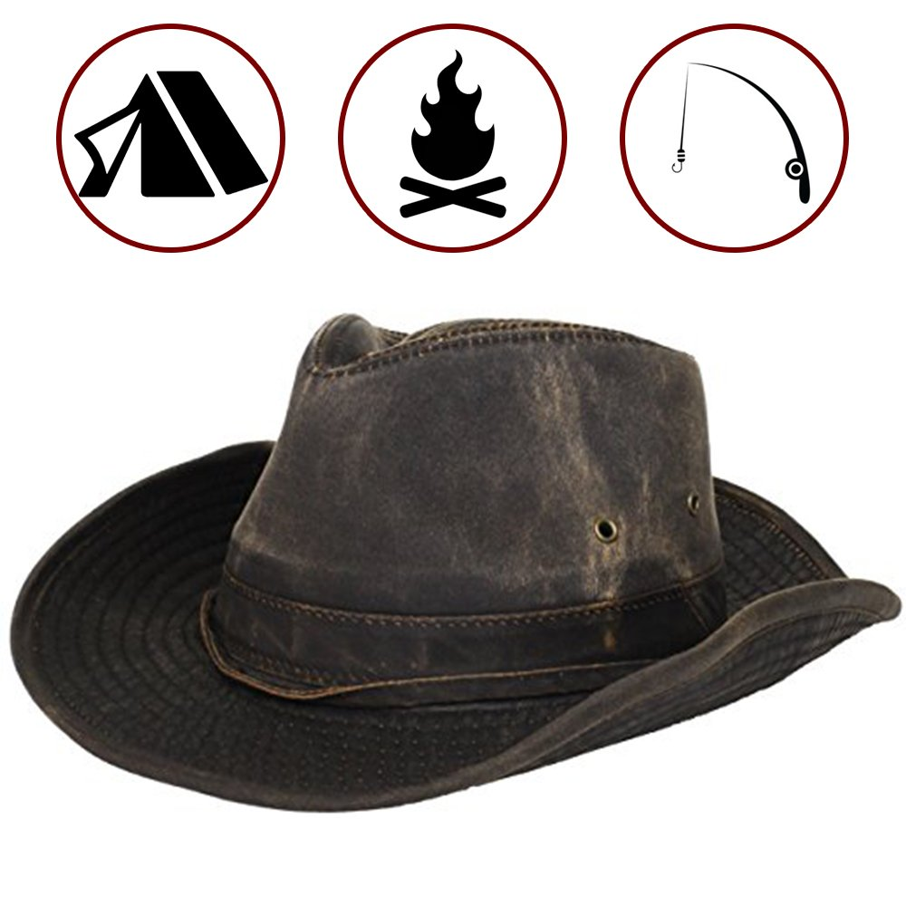 3f075b859c9cb Dorfman Pacific Men s Cotton Outback Hat with Chin Cord Brown product image