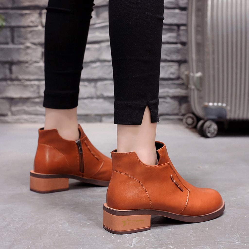 Womens Winter Sports Boots,Claystyle Womens Wedge Solid Zipper Biker Ankle Trim Flat Ankle Boots Shoes