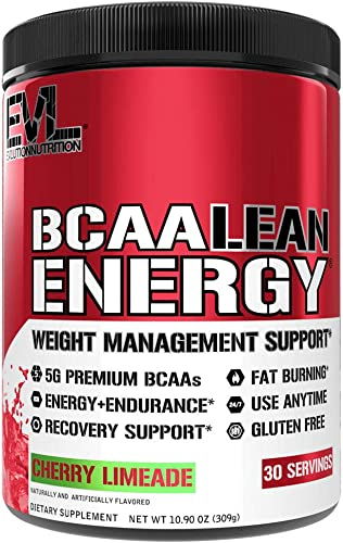 Evlution Nutrition BCAA Lean Energy – Essential BCAA Amino Acids Vitamin C, Fat Burning Natural Energy, Performance, Immune Support, Lean Muscle, Recovery, Pre Workout, 30 Serve, Cherry Limeade
