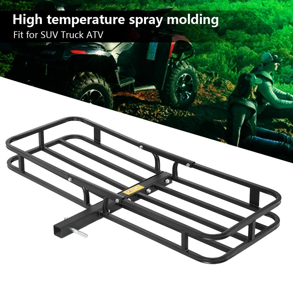 Basket-Style Steel Cargo Carrier Luggage Basket Mounted Rack Hitch Hauler for SUV Truck ATV Hitch Cargo Carrier