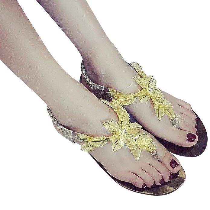 Women Fat Beaded Flower Casual Sandal Bohemia Leisure Lady Flip Flops Sandals