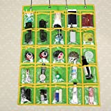 Caveen Classroom Pocket Chart Sundries Closet Pocket Chart for Cell Phones Holder Wall Door Hanging Organizer (25 Pockets) (Green)