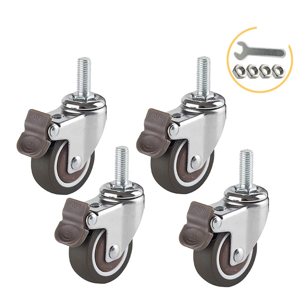 1.5inch 2inch 4 x Thread Stem M8 Rubber Casters with Brakes Double ball bearing Universal Silent Castor Wheels for Furniture Office chair Scaffolding