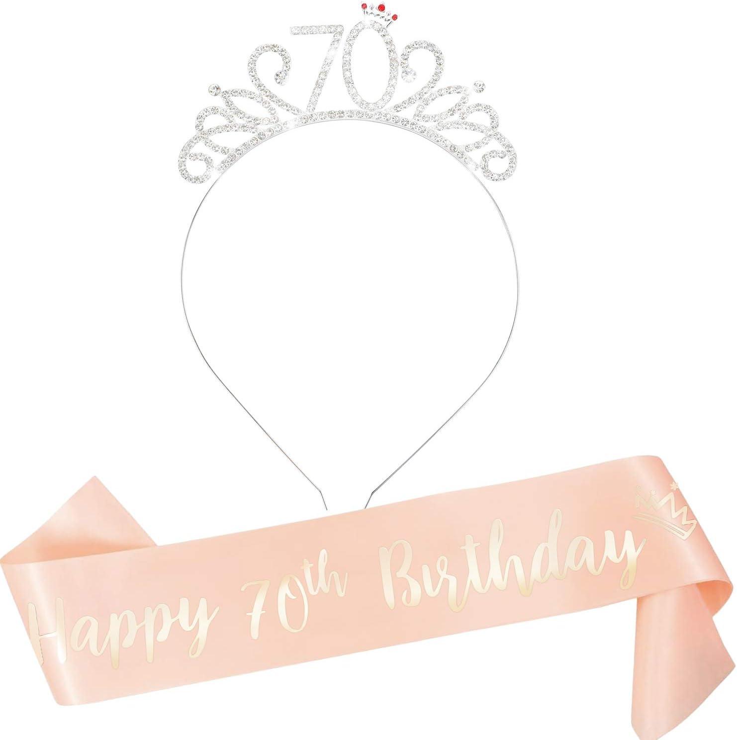 Ragazze Saluti al settantesimo Fascia da 70 Anni in Oro Rosa Settanta Compleanni con Fascia per Corona per Donne Qpout Tiara da Donna settantesimo Compleanno con Strass e Strass per Donna