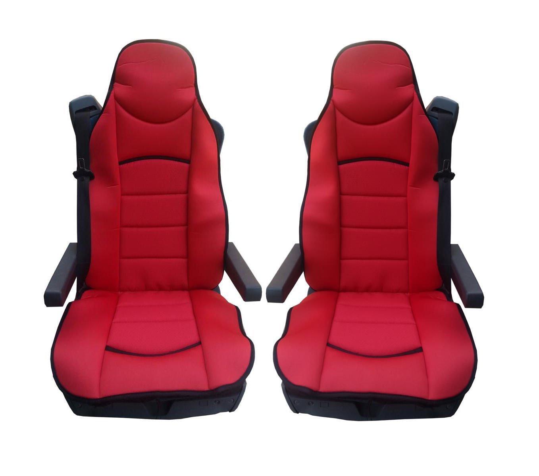 2x vordere LKW Sitzschö ner Sitzbezü ge Rot Schonbezü ge Neu Hochwertig Satz Polyester Sitzauflage Autobits.de GmbH