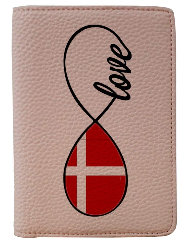 [OxyCase] Designer Light Weight PU Leather Passport Holder Cover/Case - Infinity Love Denmark Flag Design Printed Cute Travel Wallet for Girls/Women