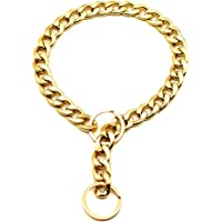 Heyean Link Thick Gold Chain Pets Safety Collar Pet Dog Adjustable Chain Collar Punk Gold Plated Collars
