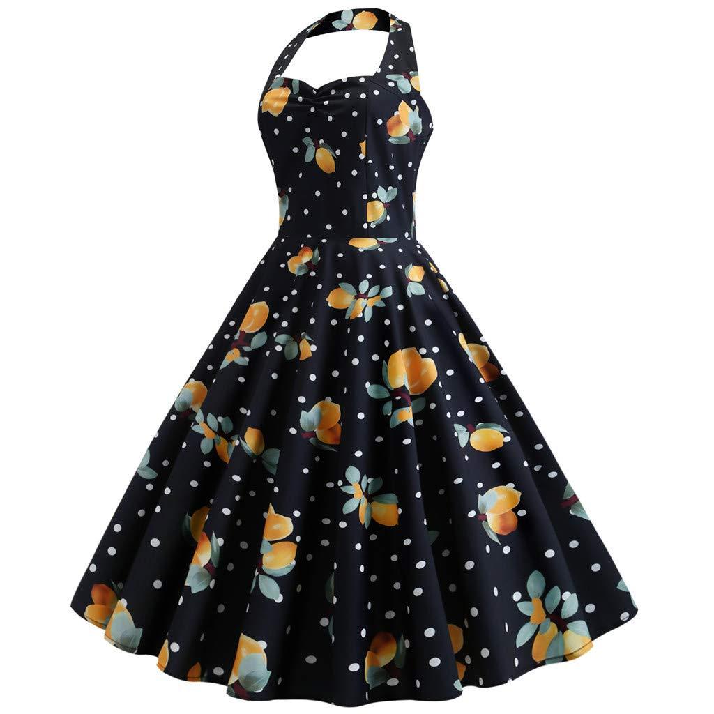 Botrong Dress for Women, Vintage Polka Dot Floral Printed Halter Dress Retro Rockabilly Cocktail Long Dress