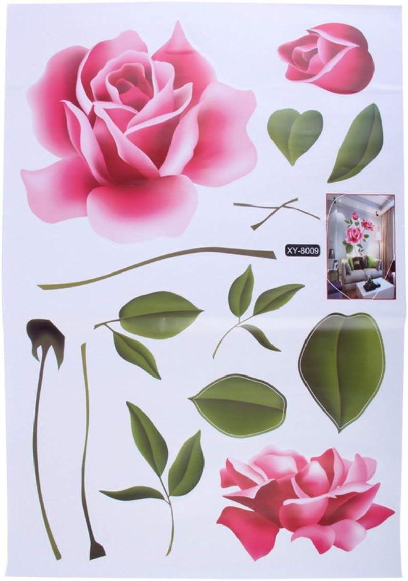 Losenlli 3D Rosa Flor Amor romántico Etiqueta de la Pared extraíble calcomanía decoración para el hogar Sala de Estar Cama calcomanías Regalo del día de la Madre