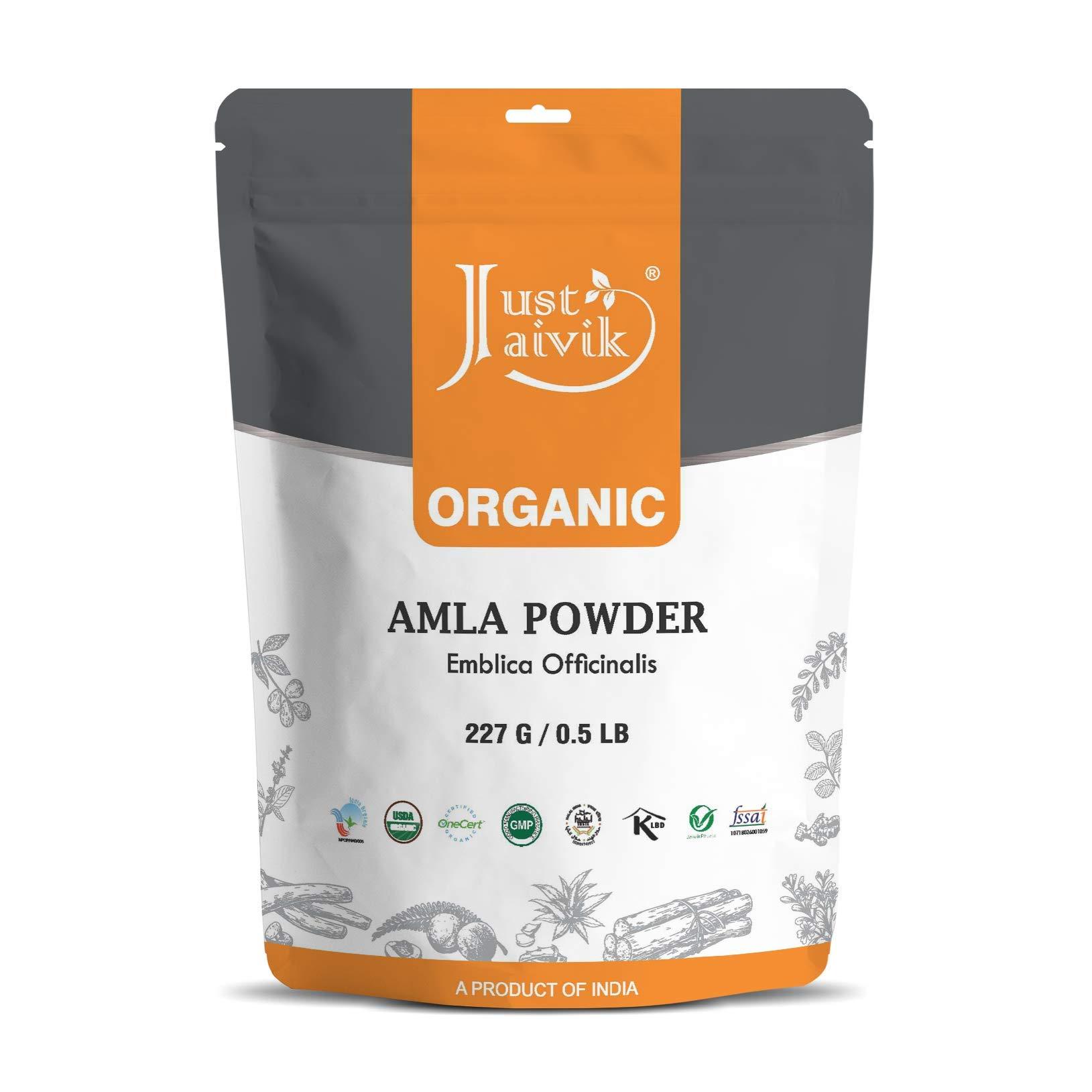 Just Jaivik 100% Organic Amla Powder - Certified Organic by OneCert Asia , 227 GMS / 1/2 LB Pound / 08 Oz - Indian Gooseberry - Emblica Officinalis - (an USDA Organic Certified Herb)