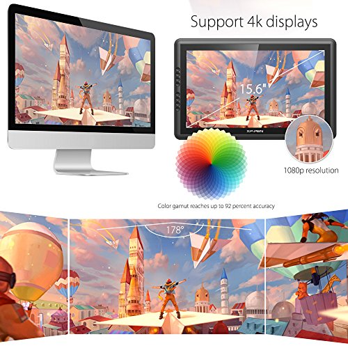 XP-PEN Artist16 Pro 15.6 Inch IPS Drawing Monitor Pen Display Drawing Tablet with Shortcut Keys and Adjustable Stand (8192 Levels Pressure)