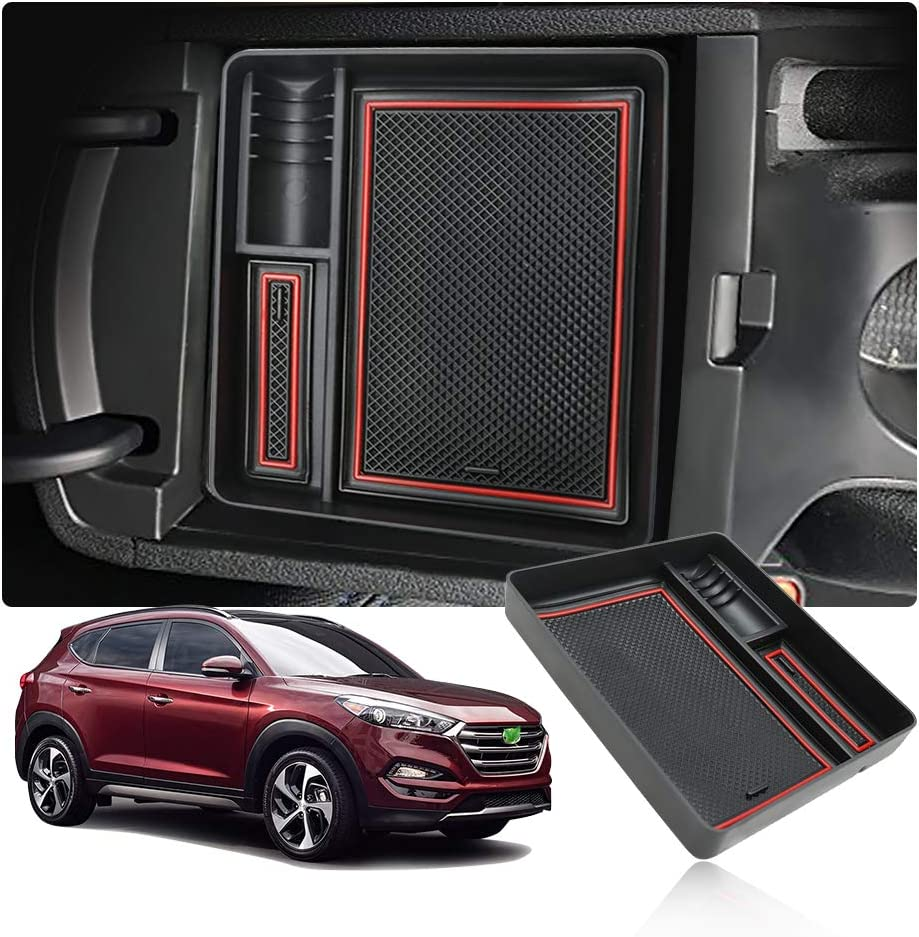Armrest Organiser Storage Box with Non-Slip Mat Car Accessories YEE PIN Tucson 2 Centre Console Glove Box for Electronic Handbrake Version